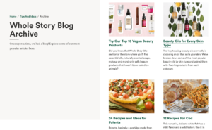 Whole Foods content marketing example